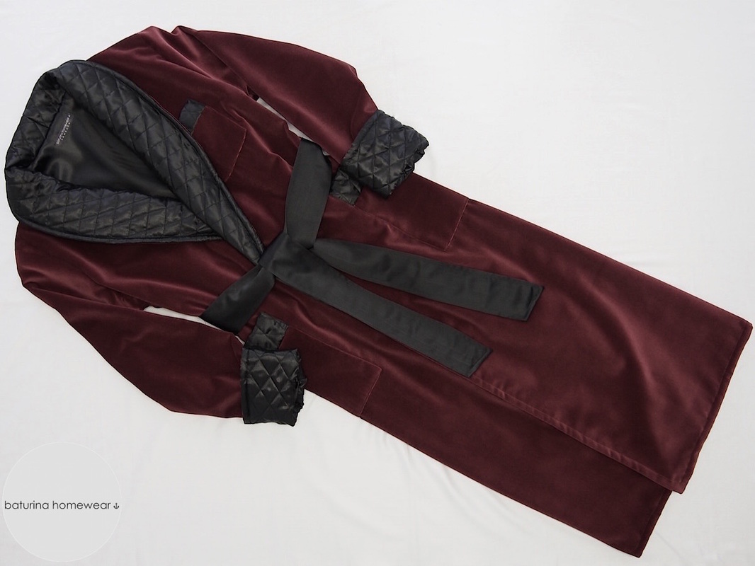 Full Length Burgundy Red Velvet Mens Dressing Gown and Smoking Robe with Quilted Black Silk Shawl Collar Fully Lined.