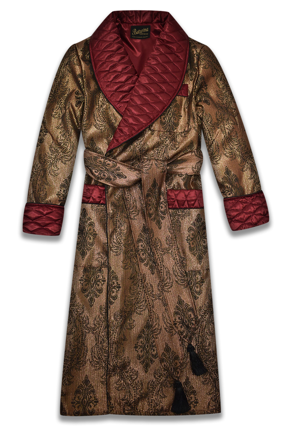 mens burgundy silk dressing gown gold paisley robe smoking jacket quilted