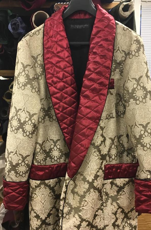 Men's luxury long paisley silk dressing gown in burgundy and gold with quilted collar