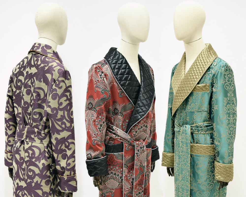 mens luxury paisley silk dressing gown robe quilted vintage victorian classic