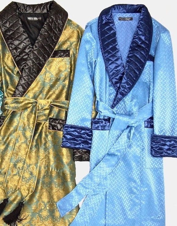 Men's silk morning robe long dressing gown luxury housecoat