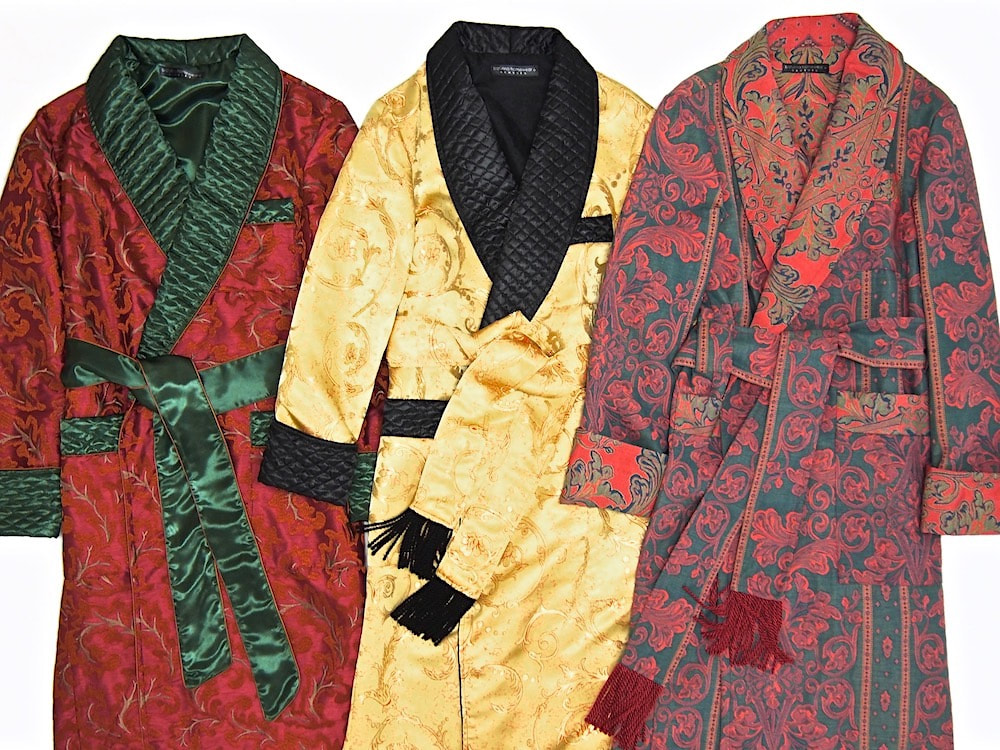 Men's luxury dressing gown silk cotton morning robe quilted paisley