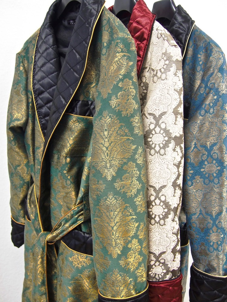 Men's paisley silk traditional luxury dressing gown with 19th century style quilted collar and full length