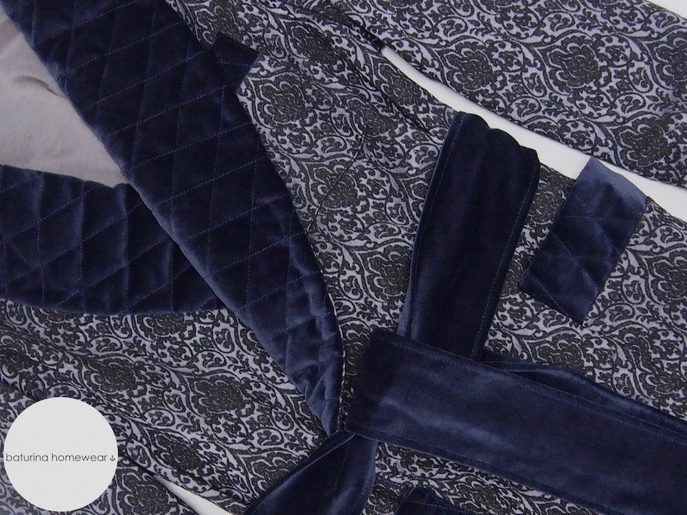 mens dressing gown navy blue gentleman robe long quilted