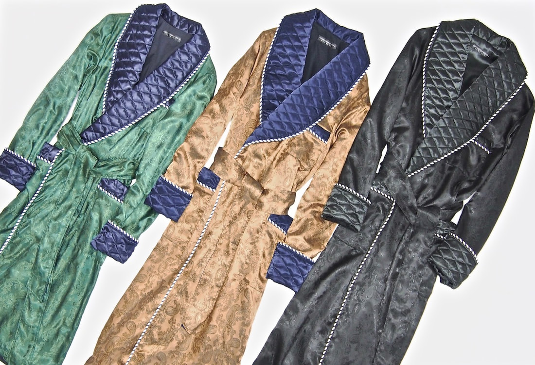 Mens paisley silk dressing gown quilted robe smoking jacket