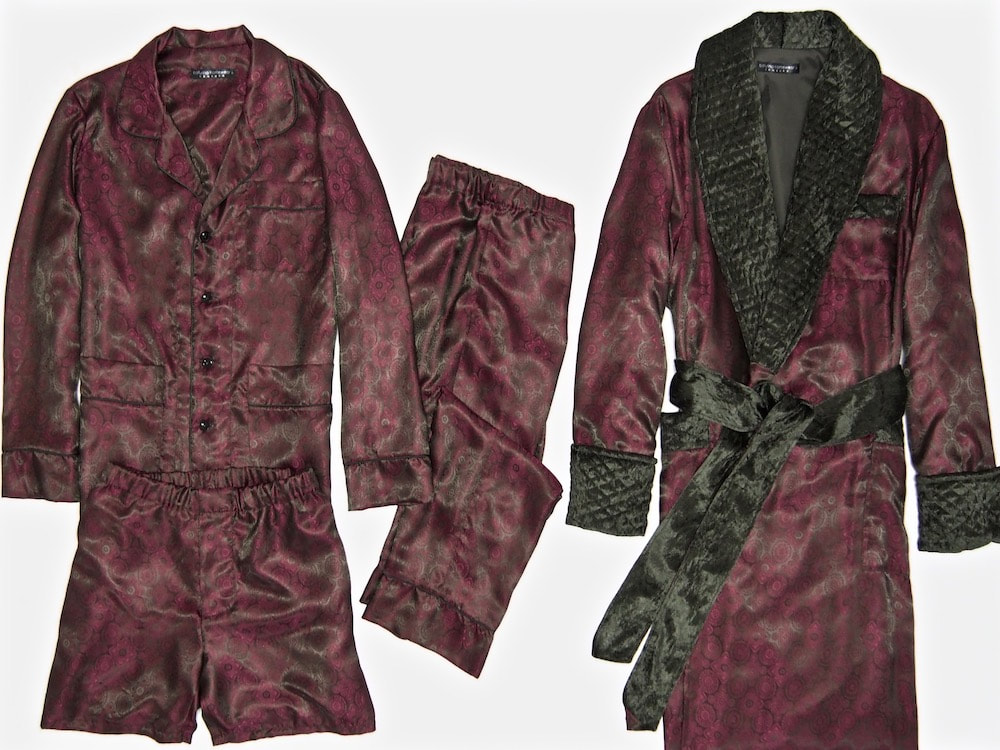Mens custom made red paisley silk jacquard pajamas set burgundy