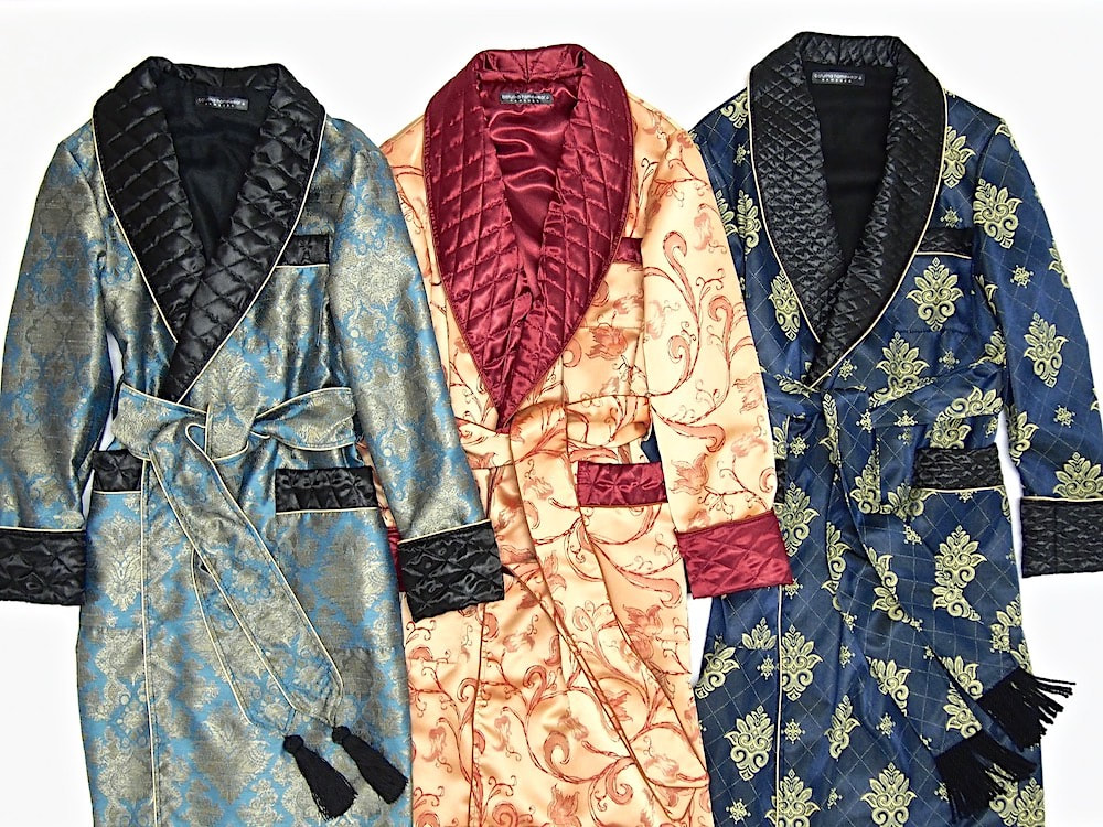 Mens luxury paisley silk dressing gown quilted gentleman robe