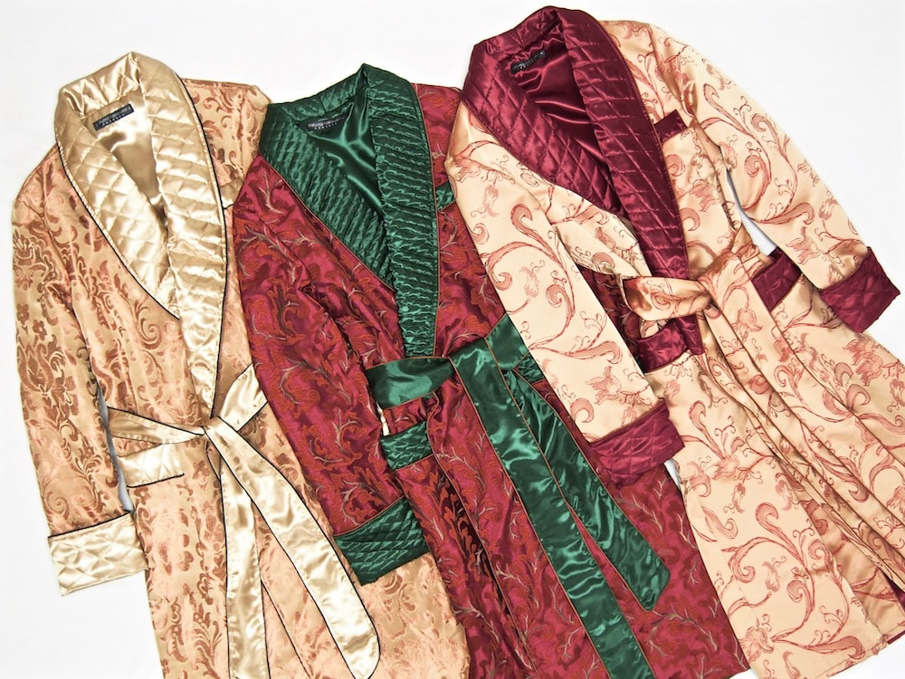 Men's silk dressing gowns luxury robe paisley quilted
