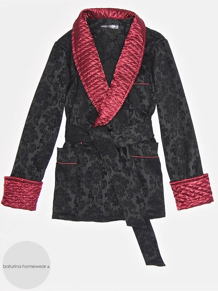 Men's smoking jacket lounging robe gentleman's quilted silk dressing gown soft warm cotton loungewear set