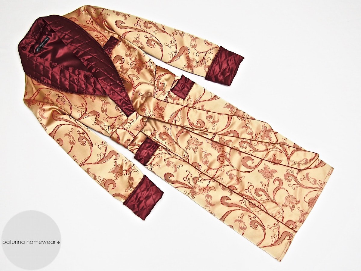 Men\'s Quilted Silk Paisley Dressing Gown Old Fashioned