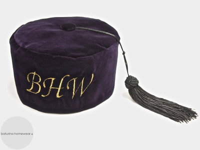 Men's purple velvet smoking cap tassels monogram embroidery  gentleman hat vintage style gentleman